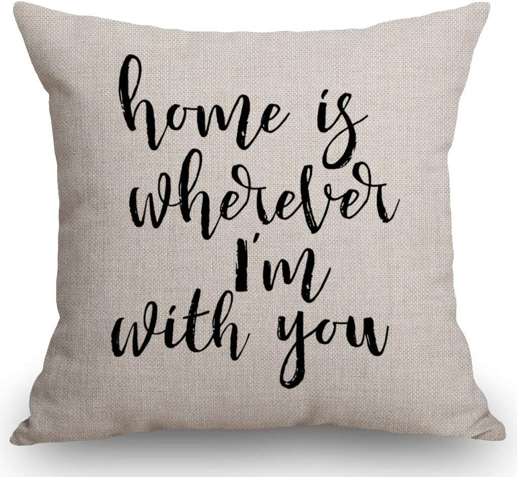 """SSOIU Quote Saying Decor Throw Pillow Covers Home is Wherever I'm with You with Motivational Words Cotton Linen Decorative Pillow Covers for Home Sofa Bed Room Pillowcase 18""""x18"""""""