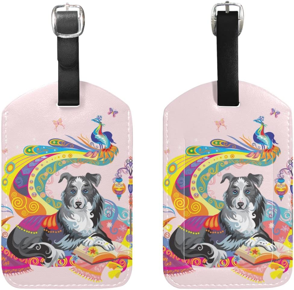 Chen Miranda Colorful Dog Travel Luggage Suitcase Label ID Tag PU Leather for Baggage 1 Piece