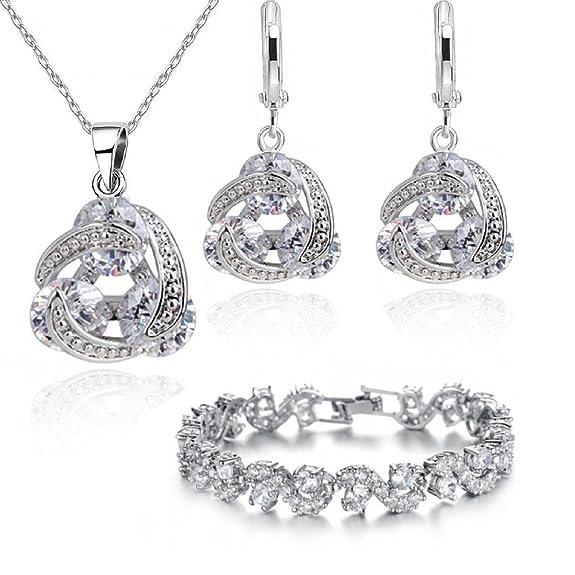 2 opinioni per Crystalline- Elegante parure braccialetto, orecchini e collana, placcati in