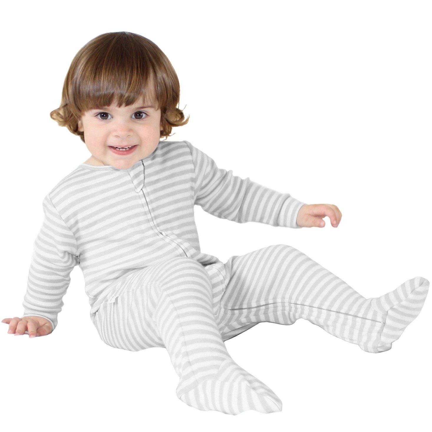 Woolino Footie Sleeper, 100% Superfine Merino Wool Sleeper, 3-6 Months, Gray