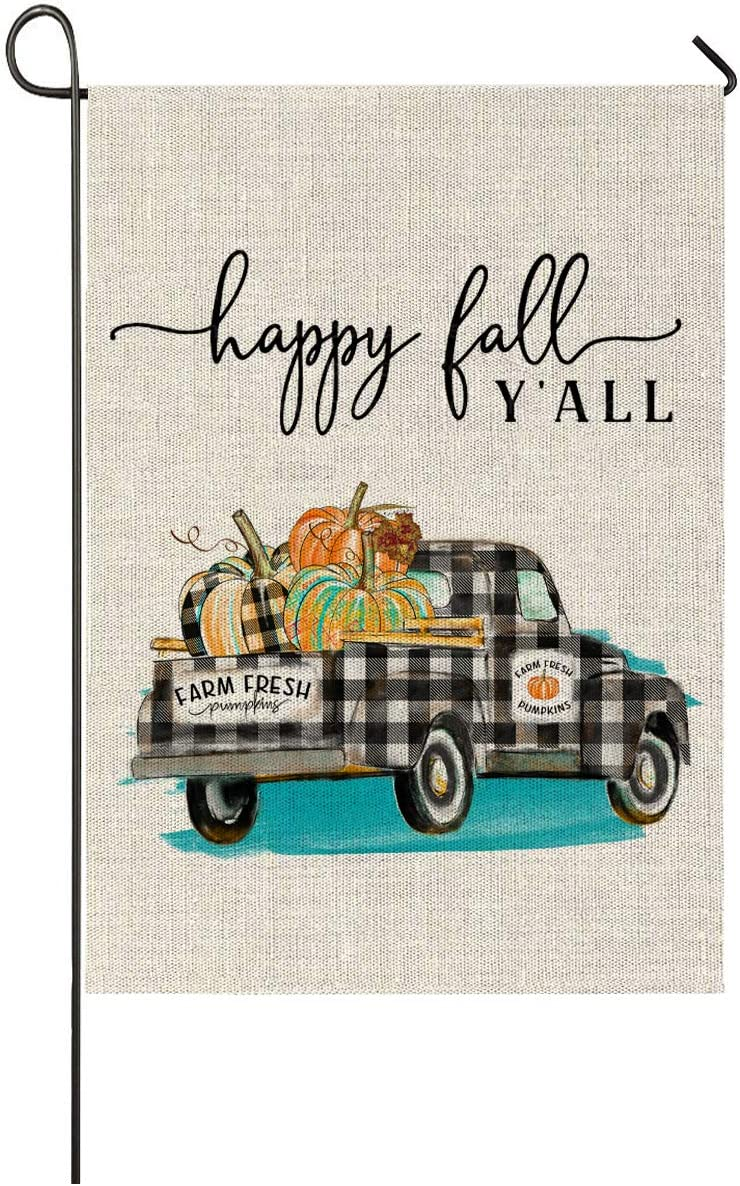 Faromily Autumn Pumpkin Truck Garden Flag Happy Fall Y'all Farm Fresh Vertical Double Sided Burlap 12.5 x 18 inch Thanksgiving Halloween Yard Outdoor Decor