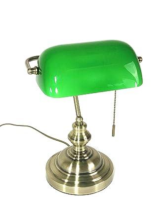 Tischleuchte Bankers Lamp Grun Mit Zugschalter Bankerslamp