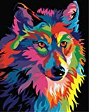 Paint by Numbers-DIY Digital Canvas Oil Painting Adults Kids Paint by Number Kits Home Decorations- Colorful Wolf 16…