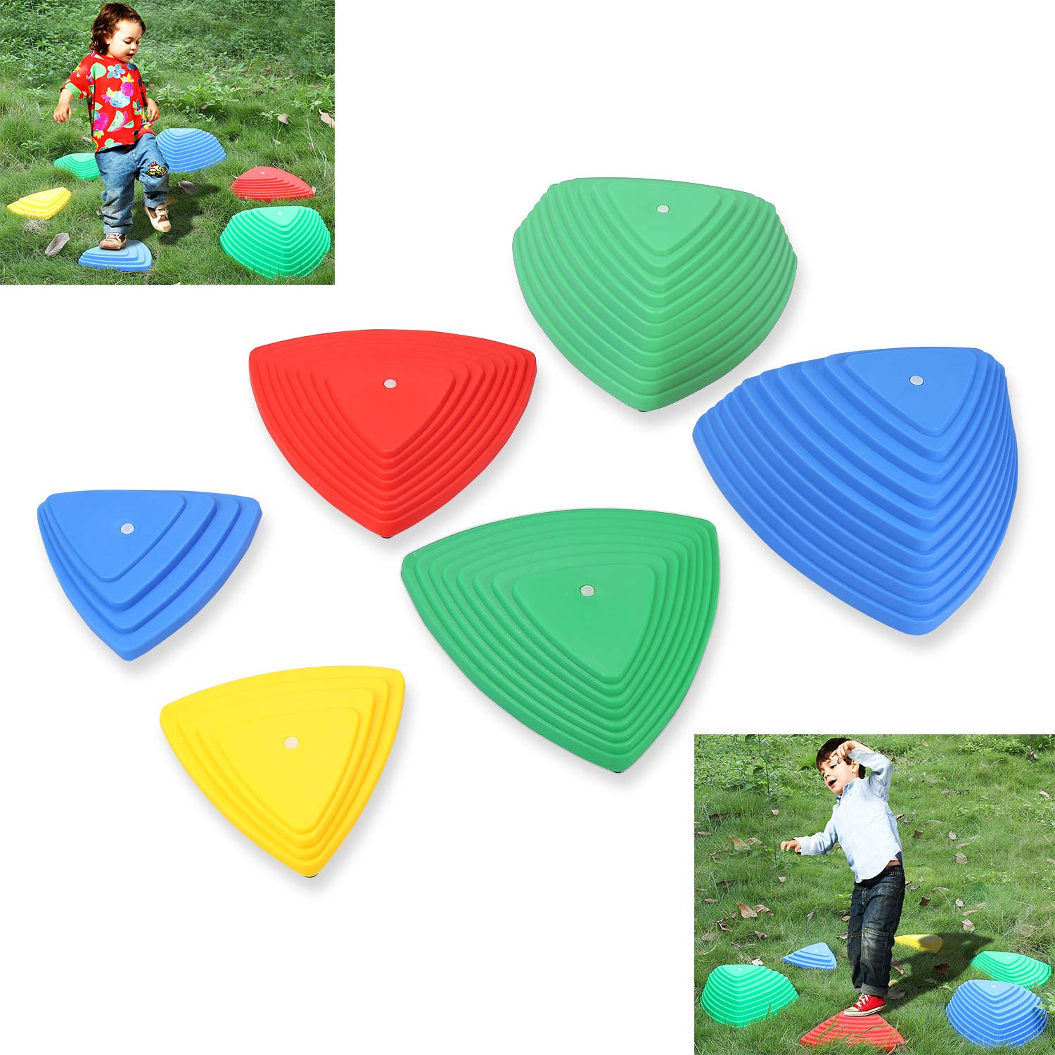 PKBQUEEN River Stones Obstacle Balance Course, 5 Colors & 3 Different Height & Sizes by PKBQUEEN