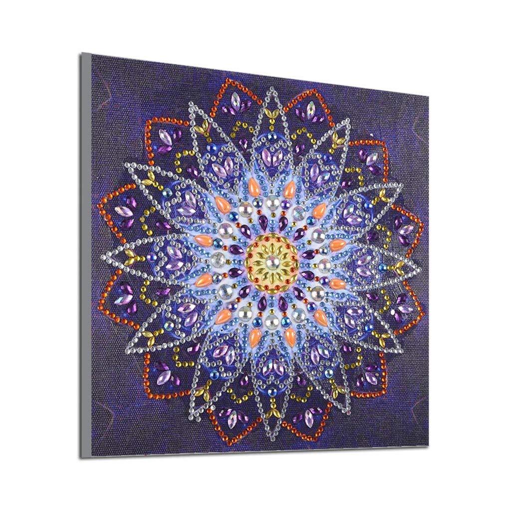 LianMengMVP Peinture en Diamant 5D DIY, Fleur de Mandala Peinture au Diamant Diamond Forme spéciale Bricolage Foret partiel Kits Point De Croix Cristal Broderie Décoration de Maison