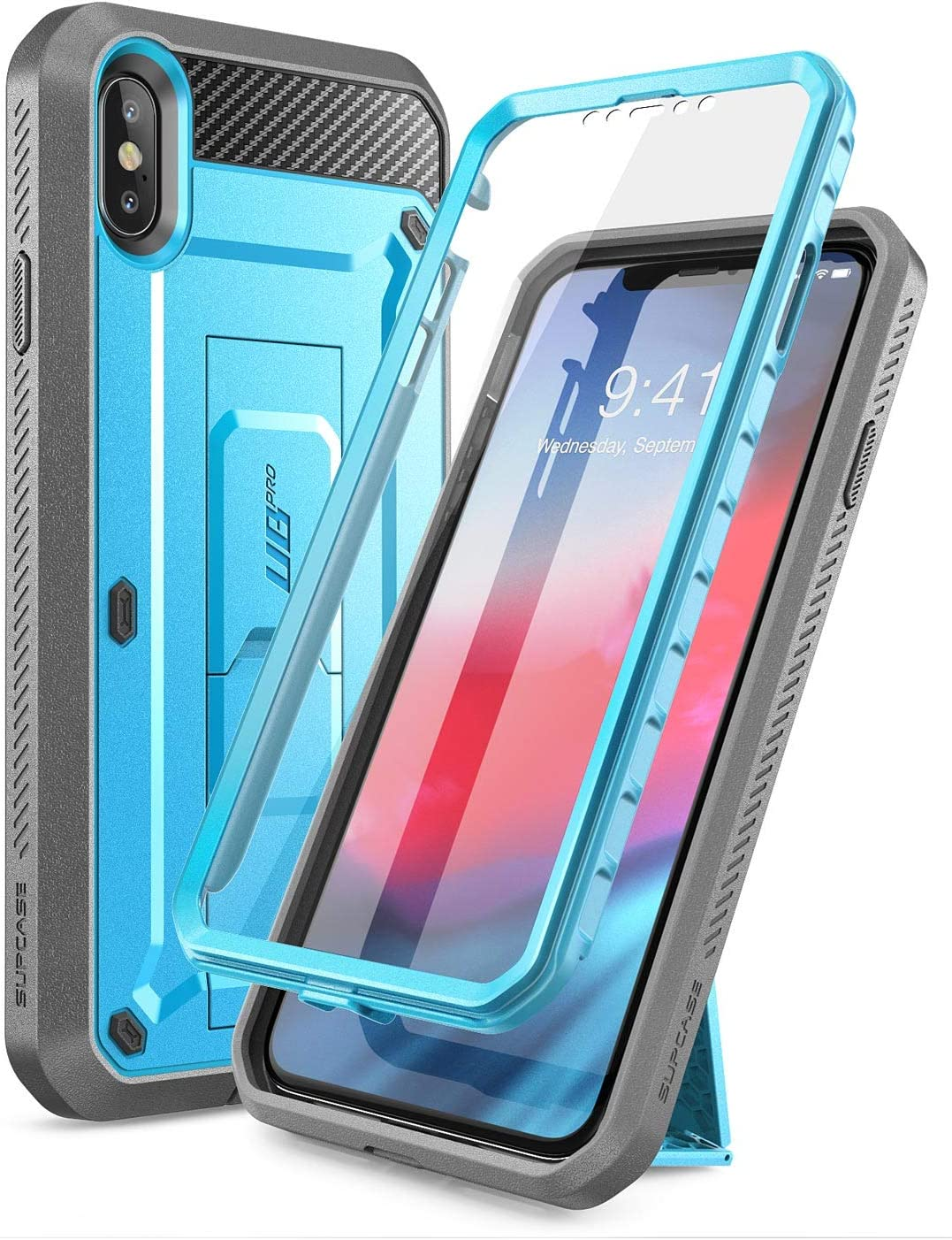 SUPCASE [Unicorn Beetle Pro Series] Case Designed for iPhone XS Max , Full-Body Rugged Holster Case with Built-In Screen Protector kickstand for iPhone XS Max 6.5 Inch 2018 Release (Blue)