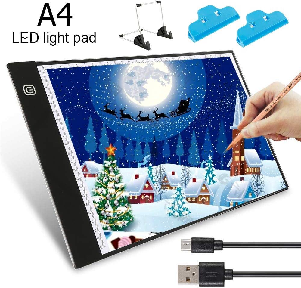 bocetos port/átil ideal para colorear dibujo ODOMY Panel de luz LED A4 brillo regulable con cable USB animaci/ón