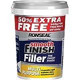 Ronseal 36545 - Stucco riempitivo per pareti, finitura liscia, multifunzionale, pronto all'uso, con 50% Extra, bianco