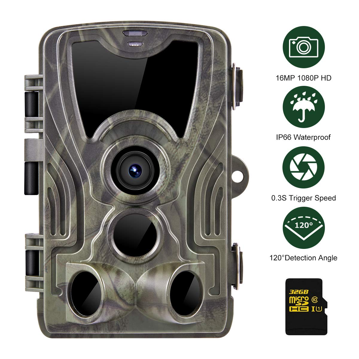 Packfun Trail Camera 16MP 1080P HD Scouting Camera 940nm IR LEDs IP66 Waterproof 120 Detection Range Motion Activated Night Vision Suitable for Wildlife Observation Home Security, 32GB Card Included