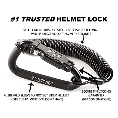 Motorcycle Helmet Lock & Cable. Sleek Black Tough Combination PIN Locking Carabiner Device Secures Your Motorbike, Bicycle or Scooter Crash Hat (and Jacket) to Your Bike.: Sports & Outdoors