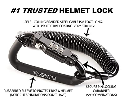 Motorcycle Helmet Lock & Cable. Sleek Black Tough Combination PIN Locking Carabiner Device Secures Your Motorbike