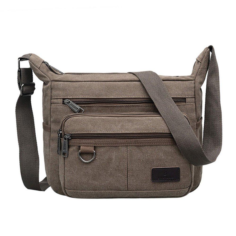 Mfeo Vintage Retro Canvas Shoulder Bag Multi Pocket Cross-body Messenger Bag (Canvas - Coffee) by Mfeo (Image #1)