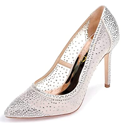 2580937f30c6 XYD Women Rhinestones Studded Stiletto High Heels Mesh Pumps Pointed Toe  Evening Dress Shoes Size 4