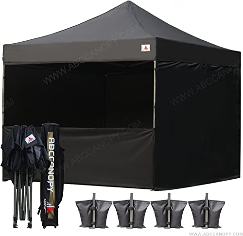 ABCCANOPY Canopy Tent Pop Up 10×10 Commercial Canopies with Sides Outdoor Canopy Pop-up Bonus 6 Side Walls, Including Door Wall, Half Wall and Mesh Wall, Upgrade Roller Bag, Black