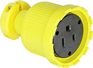 product image for KH Industries C650DF Rubber/Polycarbonate Rewireable Flip Seal Straight Blade Connector, 2 Pole/3 Wire, 50 amps, 250V AC, Yellow