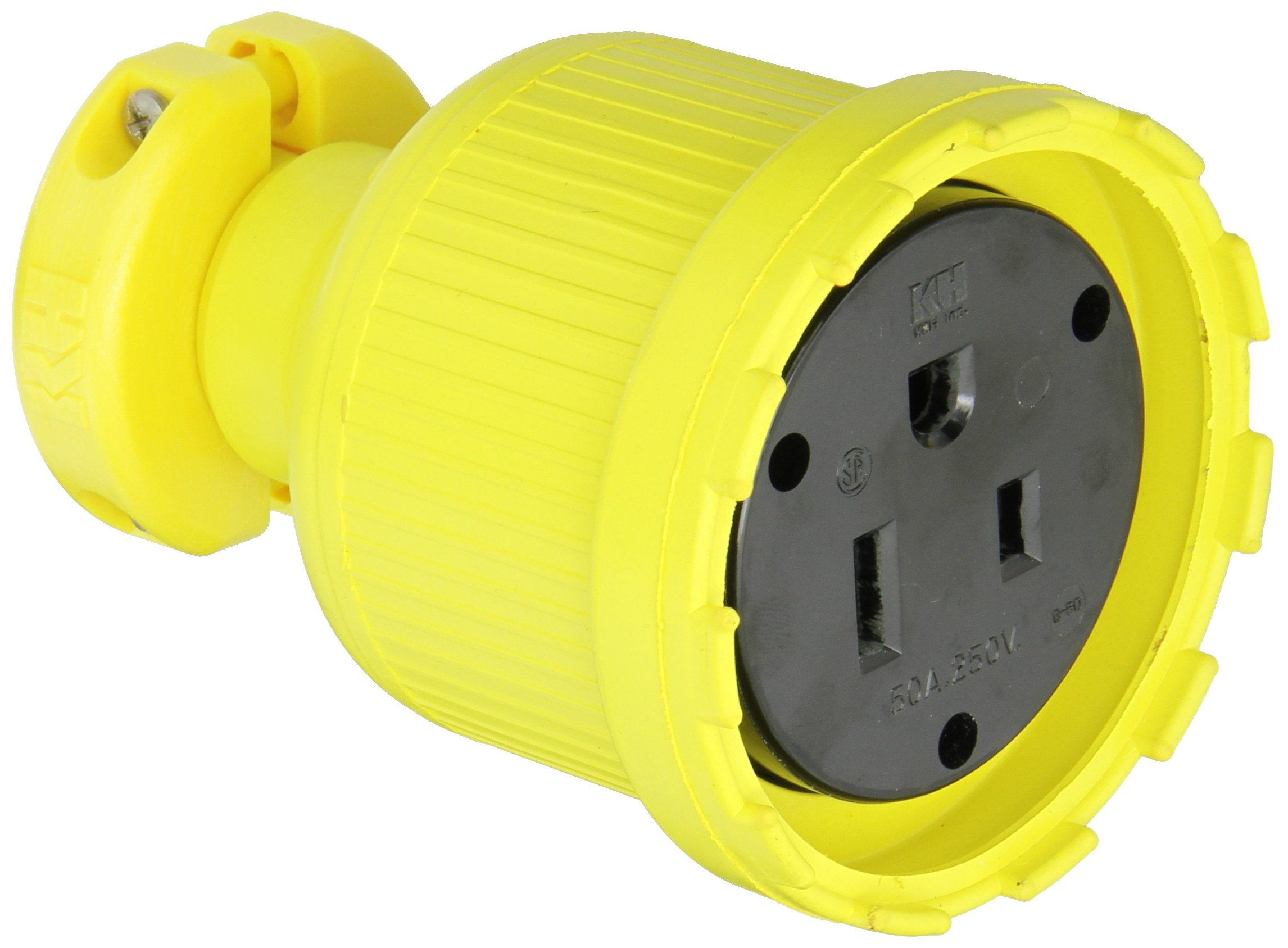 KH Industries C650DF Rubber/Polycarbonate Rewireable Flip Seal Straight Blade Connector, 2 Pole/3 Wire, 50 amps, 250V AC, Yellow