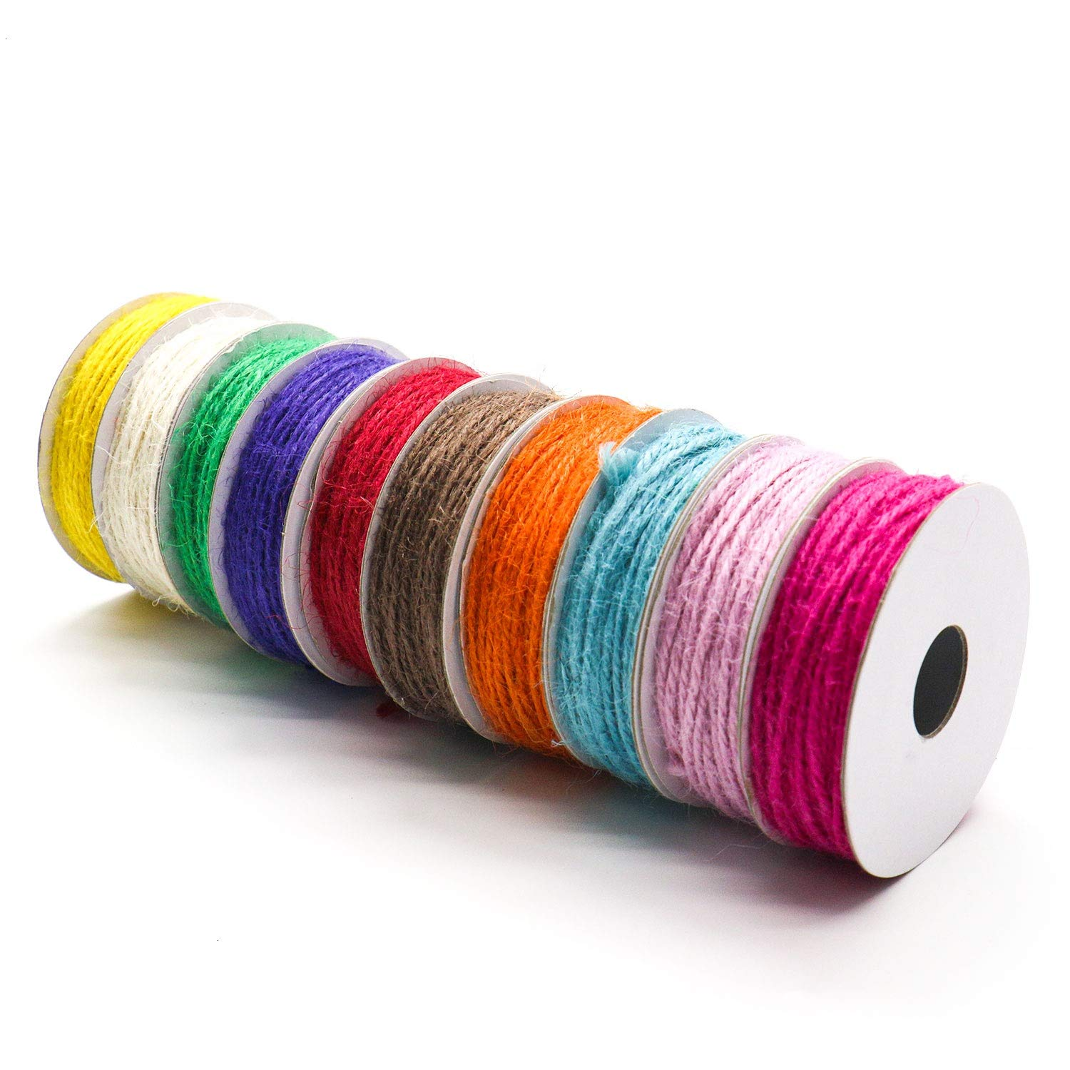 IDS 10 Pieces 20 Yards Colorful Natural Cotton Twine Gift Twines for Artworks, DIY Crafts, Gift Wrapping Twine, Picture Display and Embellishments