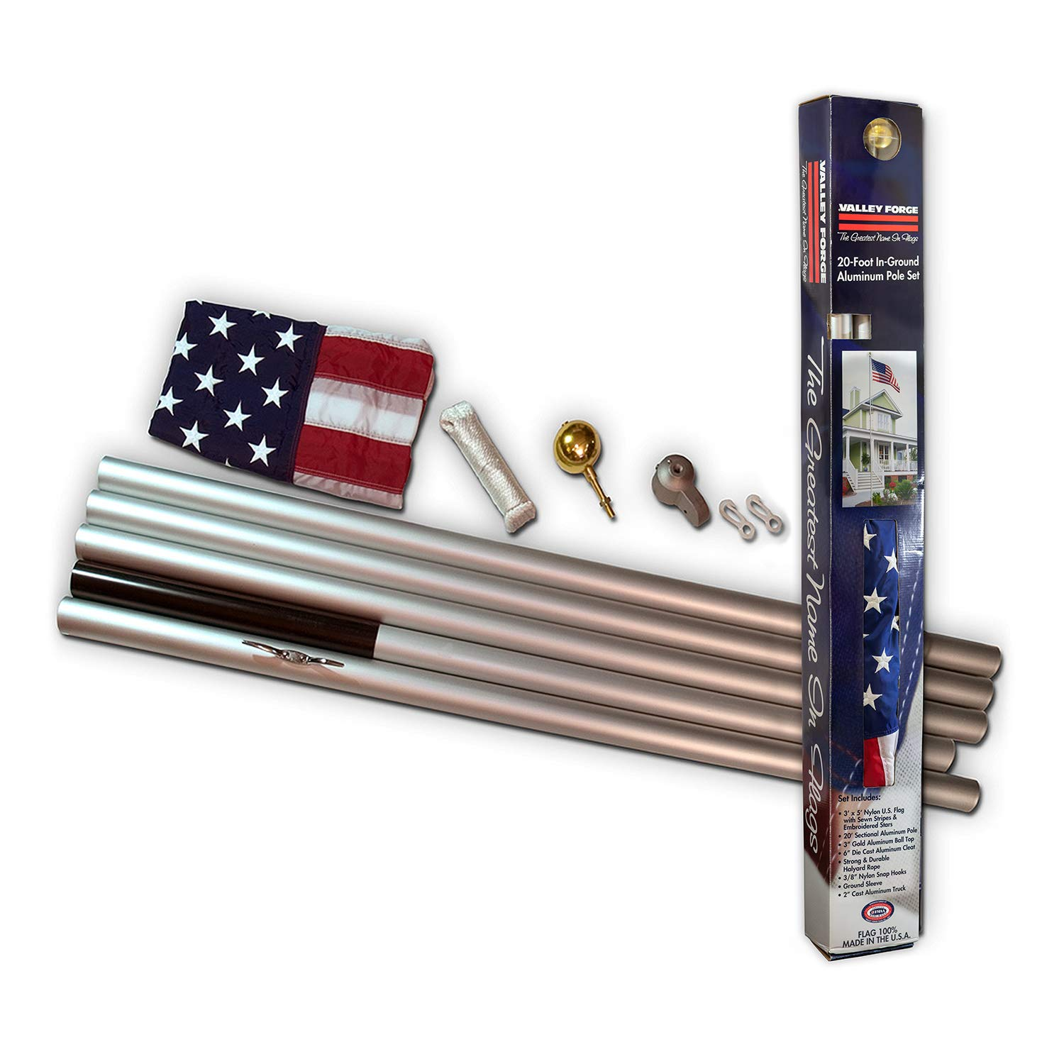 Valley Forge AFP20D American Flag Kit, 20' Polyester, Red,White,Blue by Valley Forge