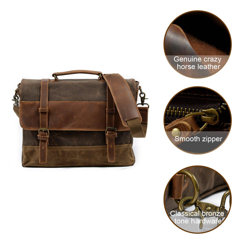 Kopack Waterproof Laptop Briefcase 15.6 inch Waxed Canvas Genuine Leather Laptop Bag Coffee by kopack (Image #3)
