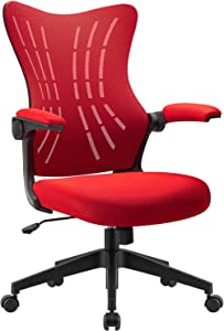 Furmax Office Desk Chair with Flip Arms,Mid Back Mesh Computer Chair Swivel Task Chair with Ergonomic with Lumbar Support (Red)