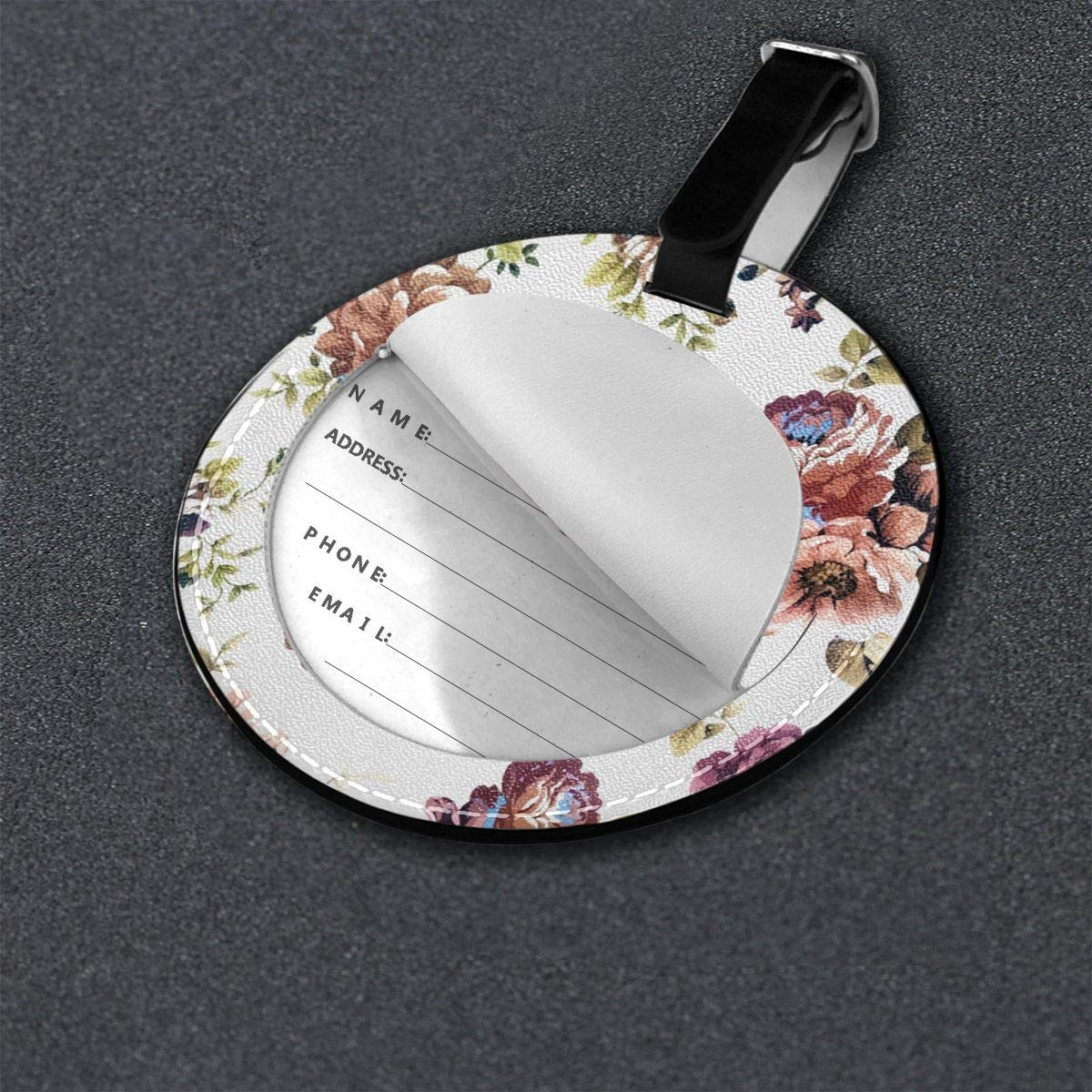 Jinsshop 4 PCS Leather Luggage Tag With Name ID Card Perfect To Quickly Spot Luggage Suitcase Vintage Floral Pattern