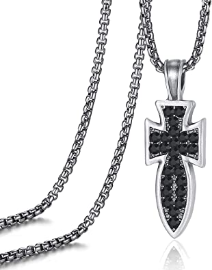 Evbea Cross Necklace For Men Black Diamond Serenity Prayer Pendant Viking Crucifix Mens Jewelry With Genuine Leather Cord Chain Curb Link Amazon Com