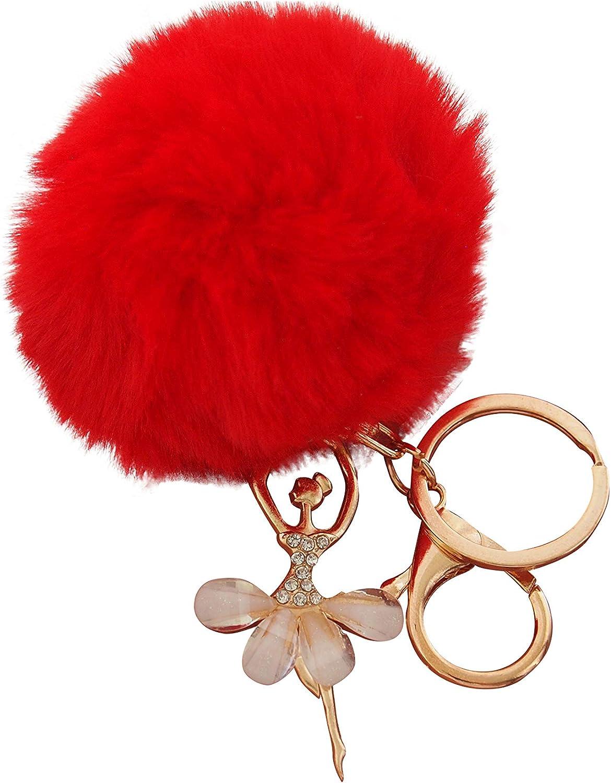 S/éraphis Ballet Fille Danseuse Porte-cl/és Peluche Balle Pendentif En Cristal Cadeau Femme Rouge