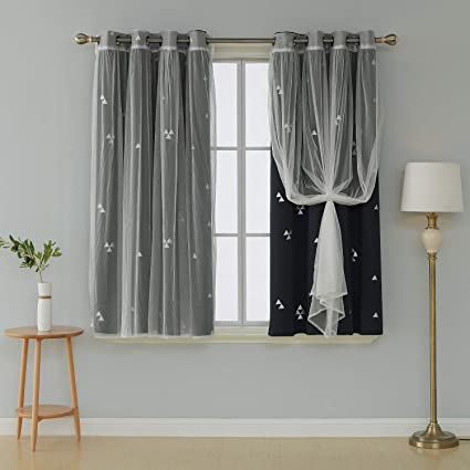 Deconovo Mix and Match Curtain Set 2-Piece Triangle Printed Blackout  Curtains Sets Black and 2-Piece Tulle White Sheer Curtains for Living Room  with ...