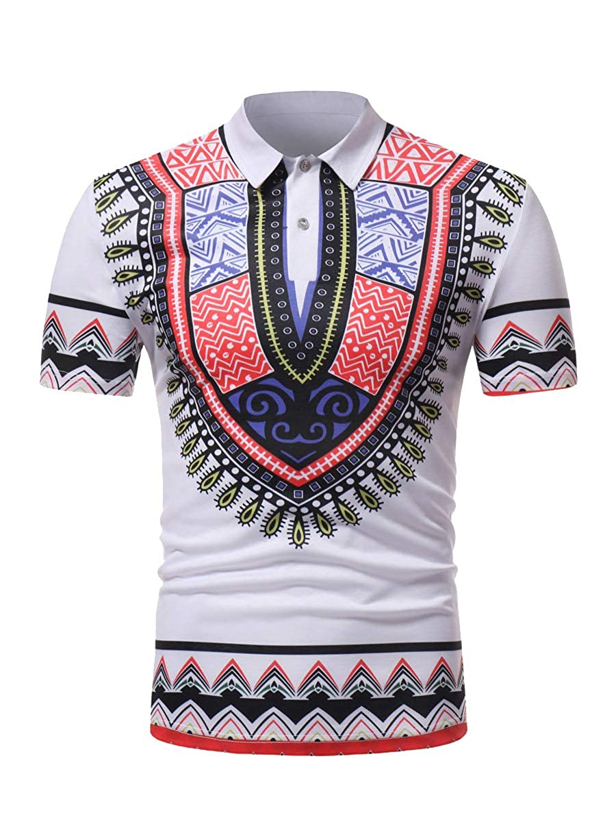Yusky Mens Short Sleeve Ethnic Style Casual African Regular-Fit Polo