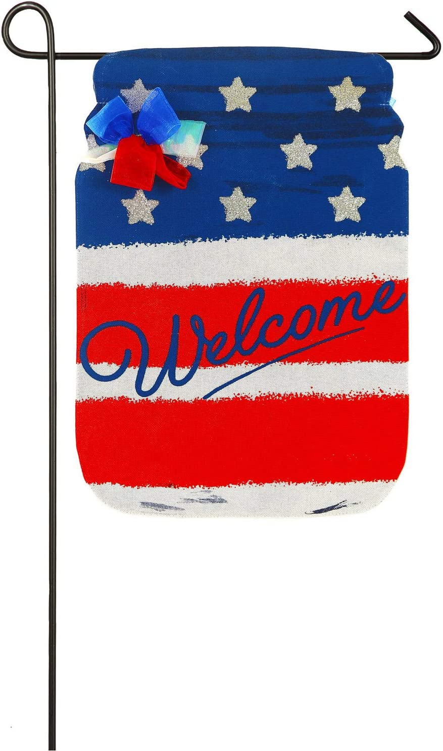 Evergreen Flag Patriotic Mason Jar Burlap Garden Flag - 12.5 x 18 Inches Outdoor Decor for Homes and Gardens