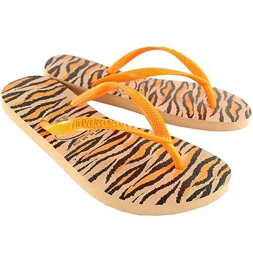 4904be53d8ad1 Havaianas Womens Slim Animals Fluo Flip Flop Summer Beach Sandal - Rose Gold  - 7