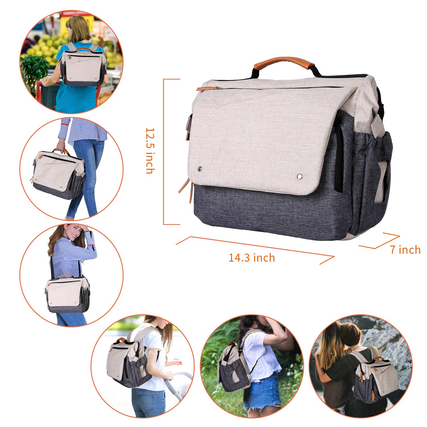 Zpoint 8015 Large Diaper Bag, Mom & Dad Backpack, Multi-function Travel Baby Nappy Changing, Water Resistant Maternity Messenger Bag with Stroller Belts, Beige/Grey