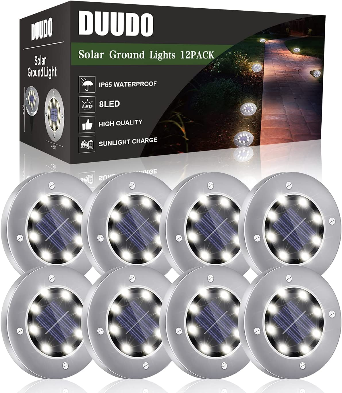 Duudo 8-LED 8-Pack Garden Pathway Solar Ground Light $16.99 Coupon