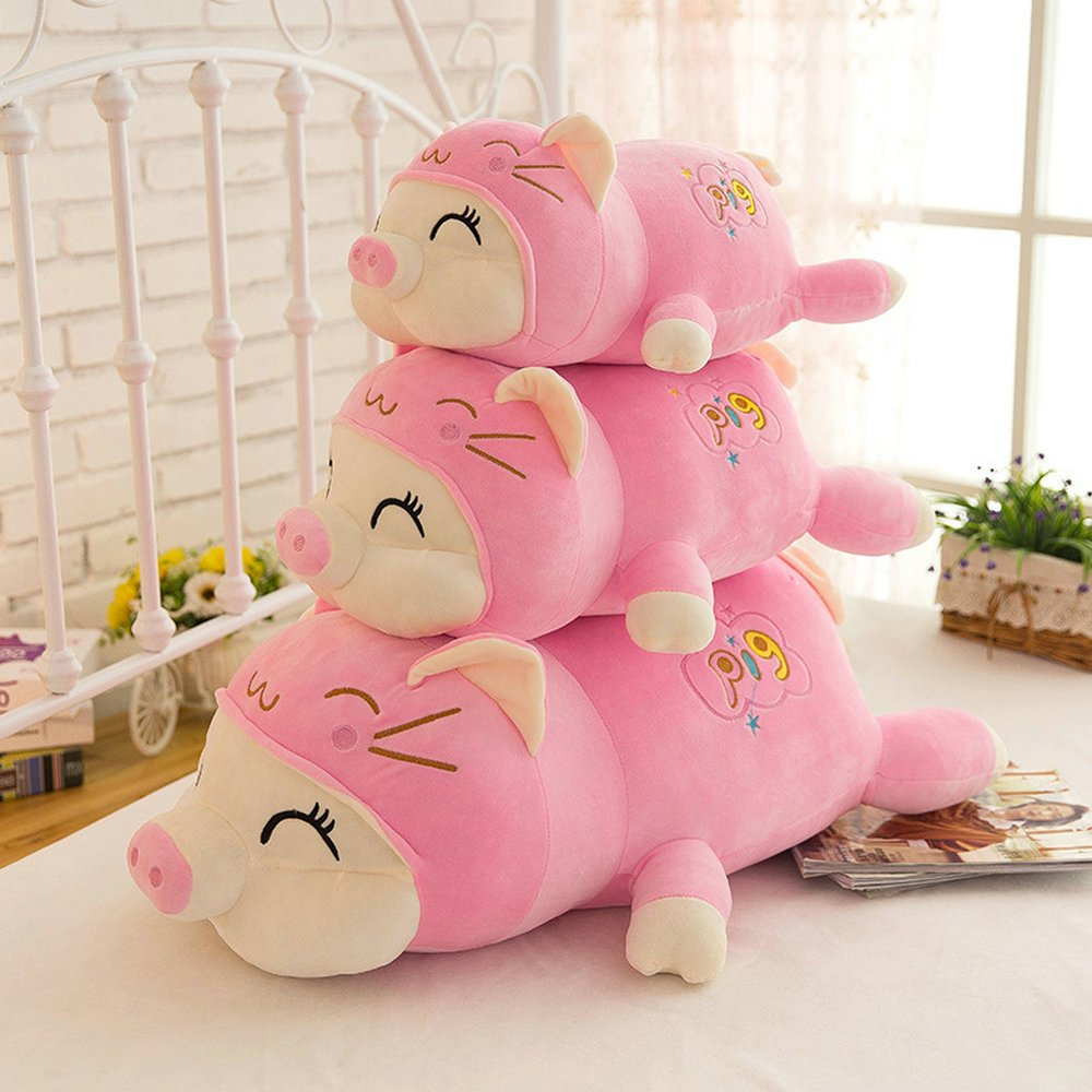 45cm, Pink YuanShiming Pig Plush Doll Animal Stuffed Piggy Throw Pillow Funny Bed Nursery Decoration Play Toy Baby Girl Sleeping Pillow Gift For Girlfriend