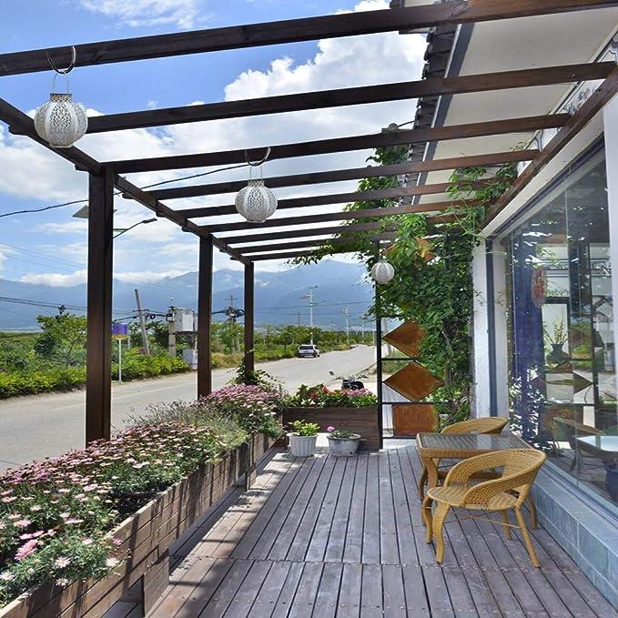 Farol solar colgante para exteriores, luces solares meteólicas, luces LED decorativas, resistente al agua, para jardín, patio, color blanco (enchapado): Amazon.es: Iluminación