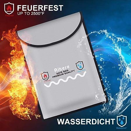 belupai feuerfeste Dokumententaschen wasserdicht mit feuerfestem Rei/ßverschluss f/ür Handy Schmuck Reisepass Aufbewahrung 27 16cm