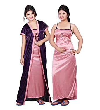 2470812076 MAHAARANI Women's Soft Satin 2 Pcs Soft Material Nighty Set (Purple_Free  Size)