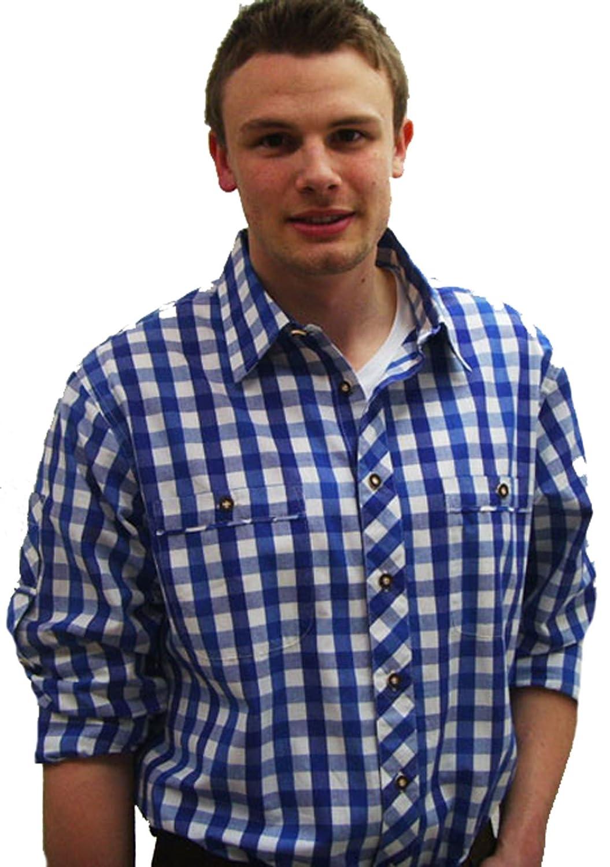 Klassisches blau kariertes Herren Hemd Dähre Trachtenhemd Wiesn Hemd