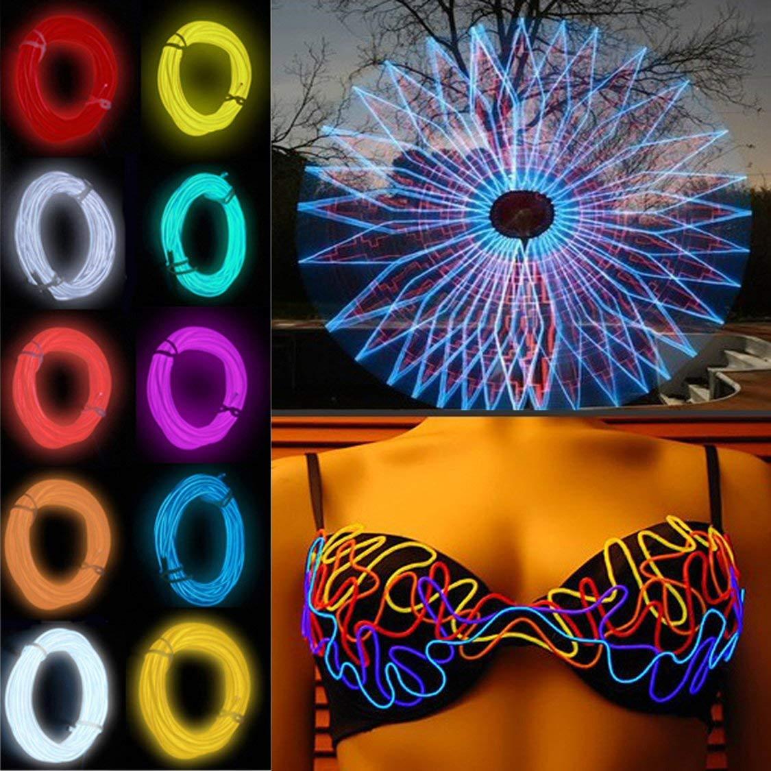 Luz de ne/ón de alambre EL flexible 3 metros para la fiesta de baile Decoraci/ón de coches con el controlador A prueba de agua Zapatos de veh/ículo Luz LED