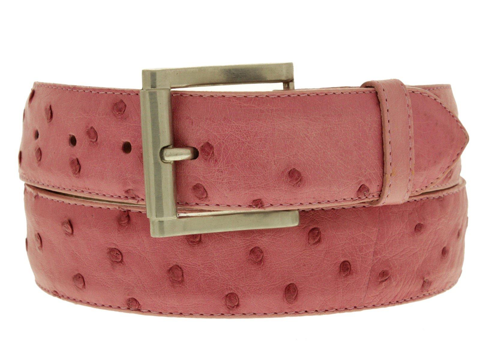 Cowboy Professional - Men's Pink Genuine Ostrich Quill Skin Cowboy Belt Silver 40