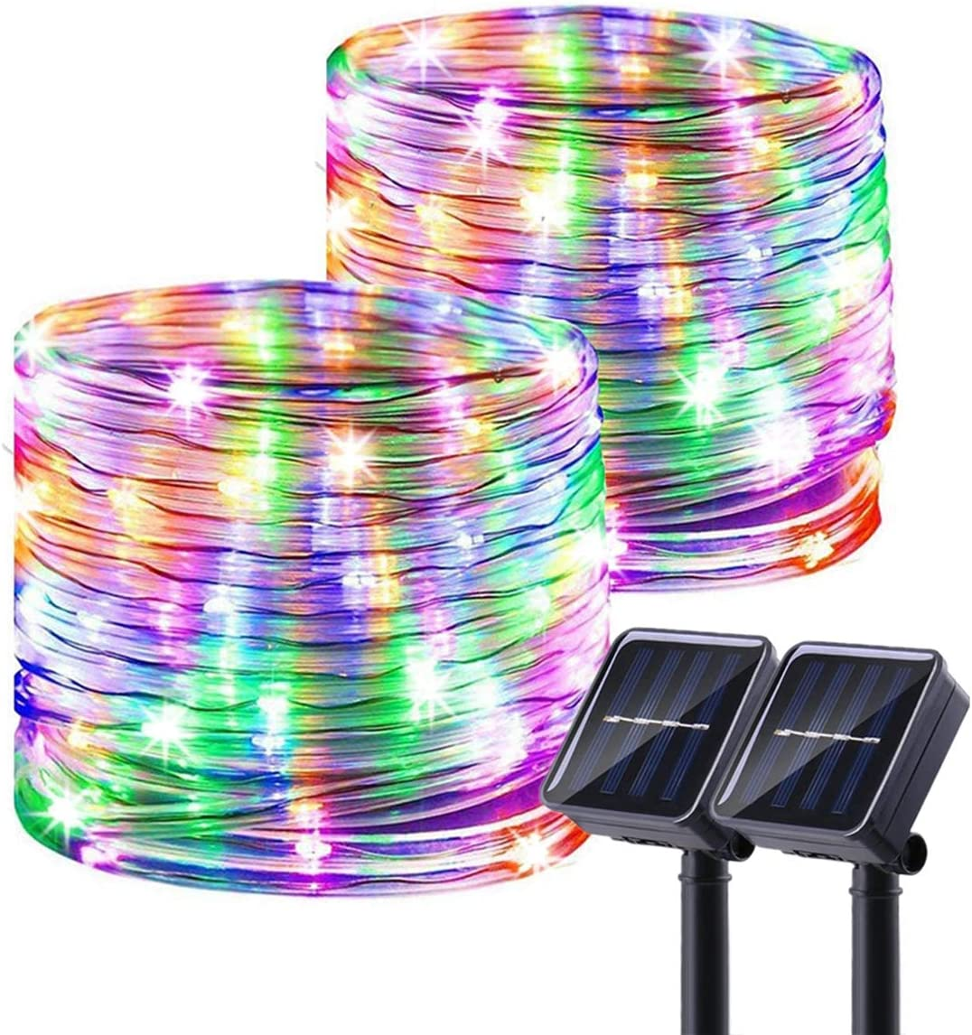 Chinety Solar String Lights Outdoor, 2 Pack 100 LED Solar Rope Lights 8 Modes Copper Wire Fairy Lights Waterproof Outdoor PVC Tube String Lights for Garden Fence Yard Summer Party Decor Multi Color