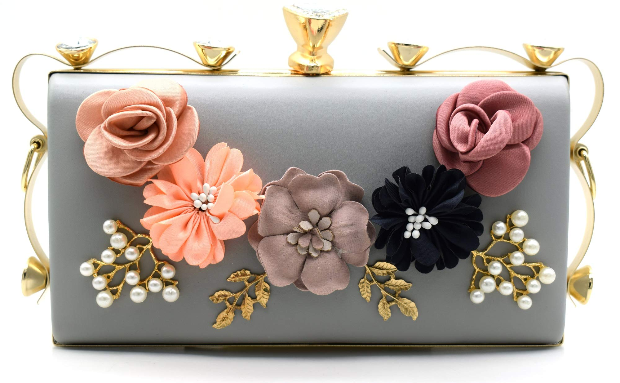 Tooba Handicraft Party Wear Flower Embellished Box Clutch Bag Purse For Bridal, Casual, Party, Wedding product image