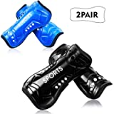 Youth Soccer Shin Guards, 2 Pair Lightweight and Breathable Child Calf Protective Gear Soccer Equipment for 12-16 Years…