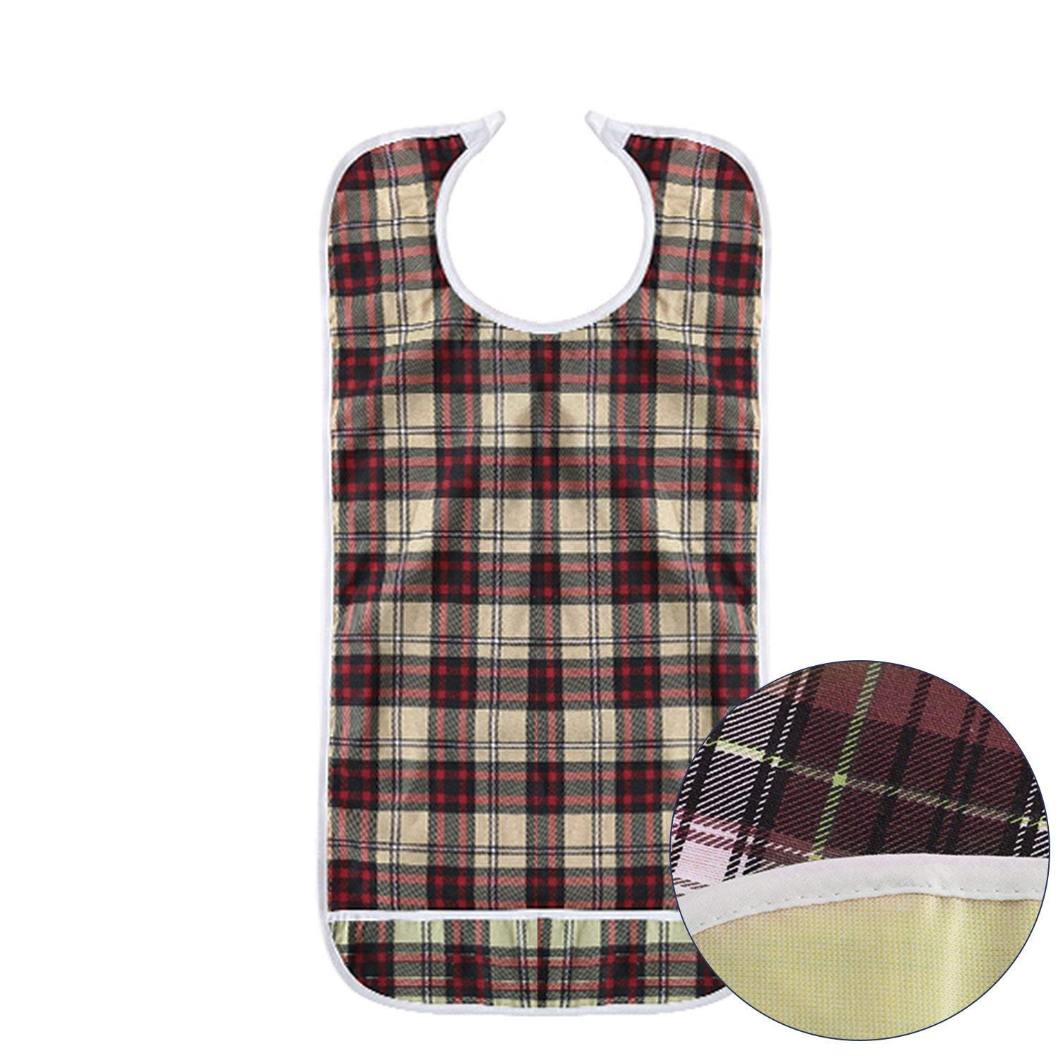 Adult Bibs - Double Layer Waterproof Mealtime Clothes Protector,Reusable Large Long Aid Bib Apron with Food Catcher for Elderly Men Women Disability (Khaki)