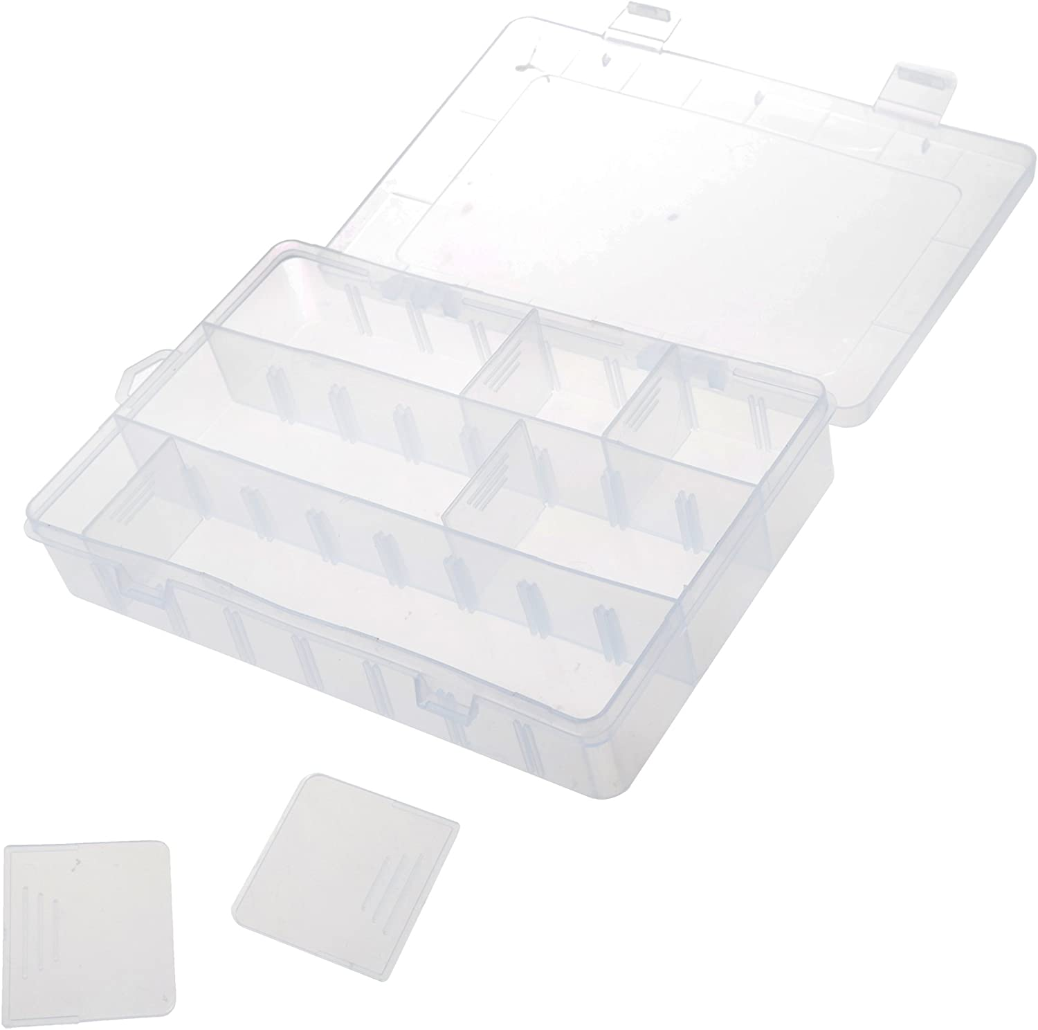 BCP Clear Plastic Art Craft Storage Container Storage Box Case with 4-Divider