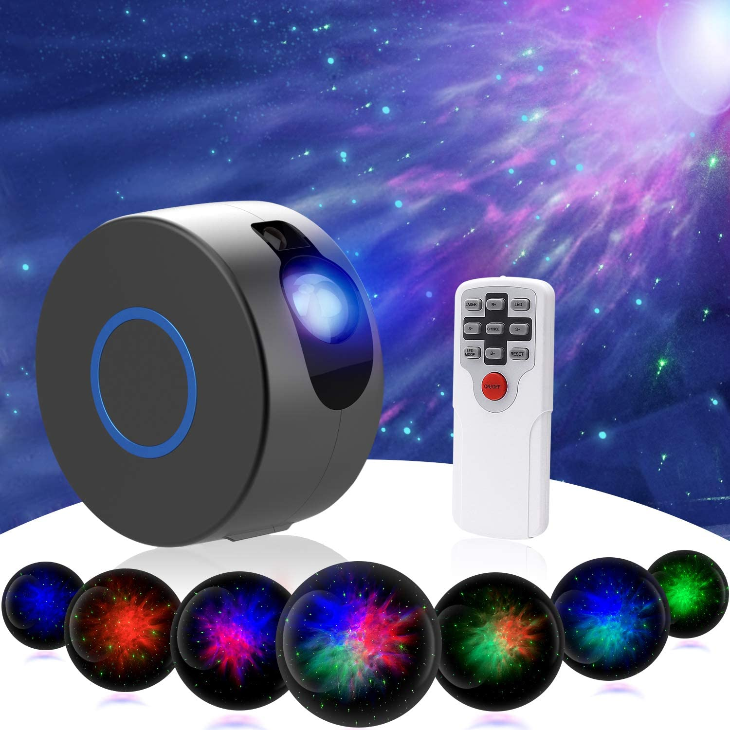 Star Night Light Projector, Upgrade 15 Lighting Modes 7 Lighting Effects Sky Galaxy Projector LED Nebula Cloud Light with Remote Control for Party Home Theater, Children Kids Baby Adults Bedroom-Grey