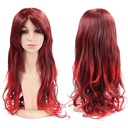 Wendy Reina mujer completa peluca de pelo largo ondulado rizado onda pelucas de cabello resistente al