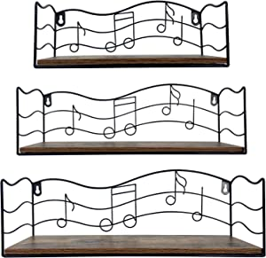CRUGLA Floating Shelves Wall Mounted Storage Set of 3, Wall Hanging Display Shelf with Music Notes Decor for Bathroom, Kitchen, Living Room, Bedroom, Office Room