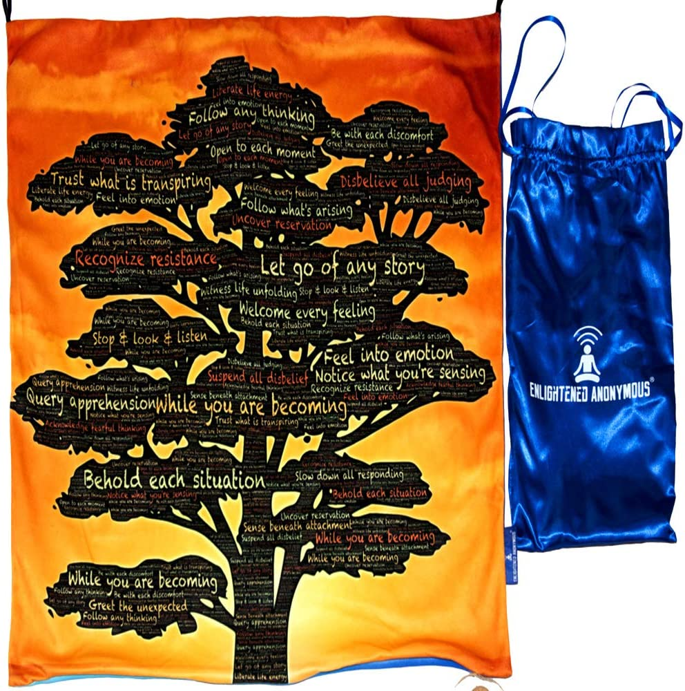 Meditation tapestry, meditation gift for men & women, meditation room wall hanging decor, mindfulness cushion portable cover, yoga mat foldable, growth tree design, meditation cushion mat, meditation wall art, inspiring wall art, kids room decor