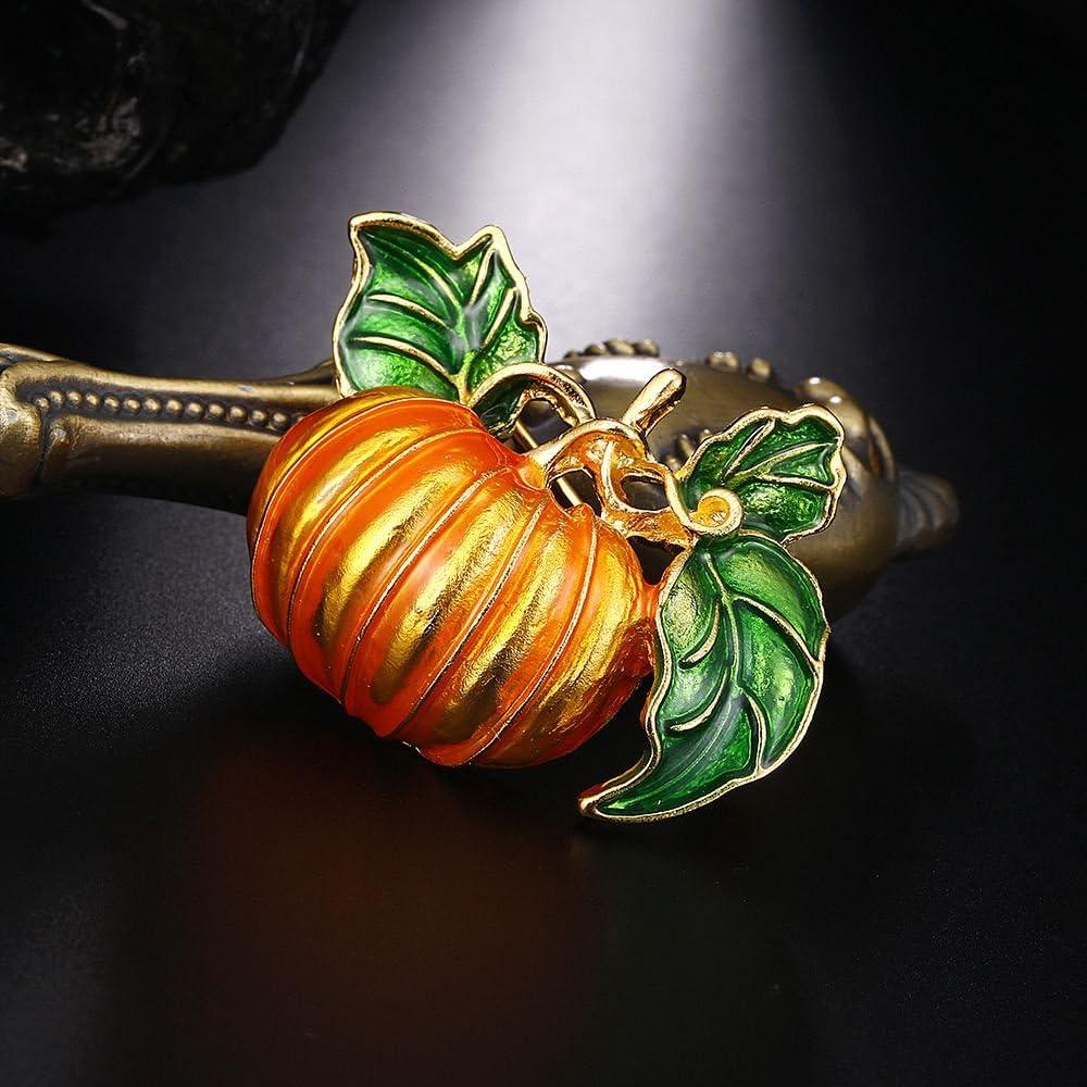 Fransande Broche citrouille Halloween en alliage avec feuilles vertes en /émail orange citrouille femme mariage banquet broche broche